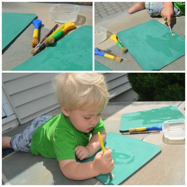 Paint with water on chalkboard simple play ideas for Small motor activities for infants