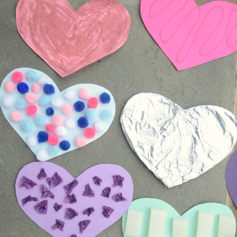 Make your own touch and feel hearts. A fun sensory activity kids will love for Valentine's Day!