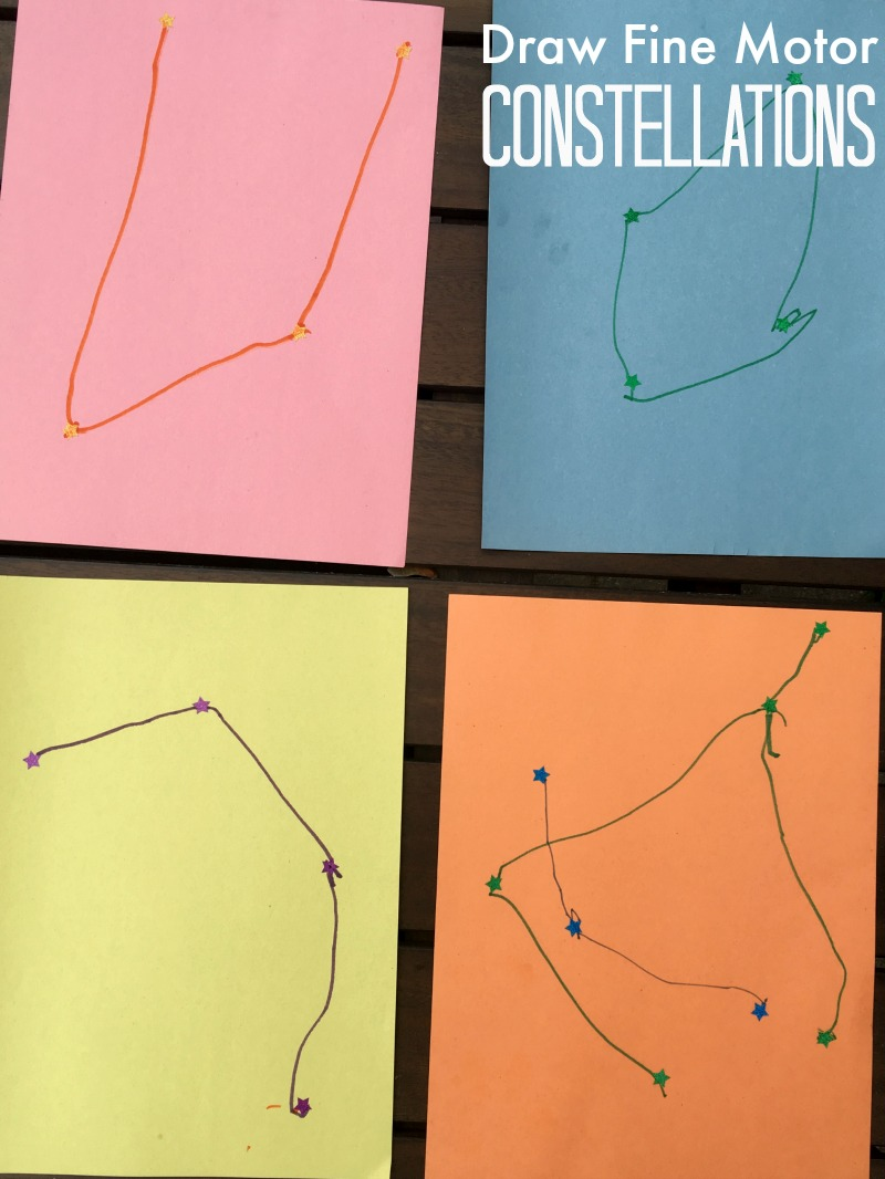 Create your own constellations! A creative fine motor activity --  perfect for early handwriting practice!