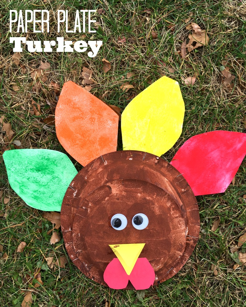 Super cute paper plate turkey craft for Thanksgiving